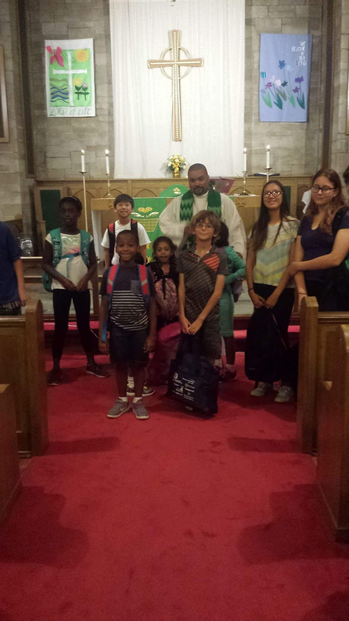 Bethlehem Lutheran Church-blessing backpacks